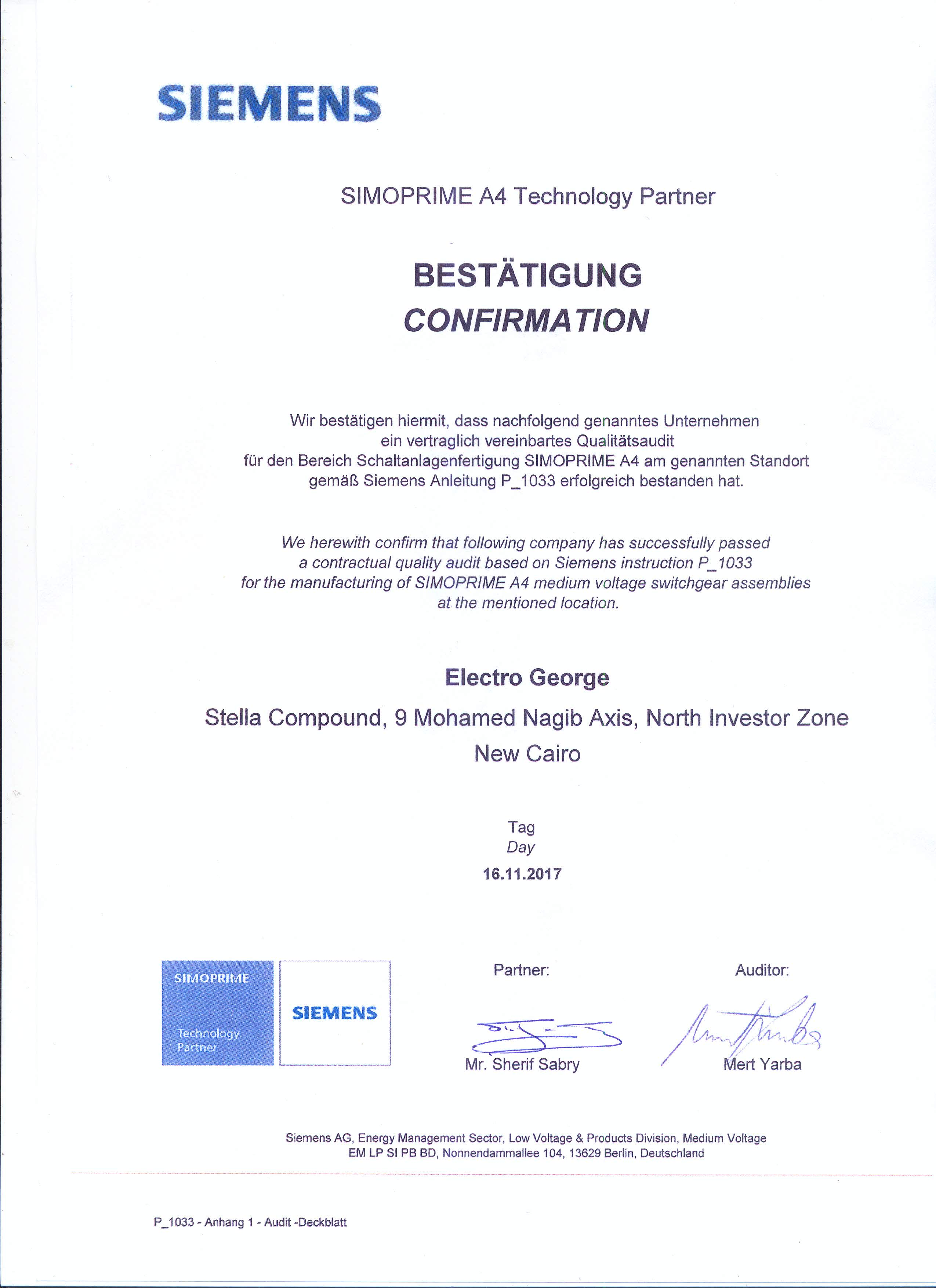 Certifications Electro George